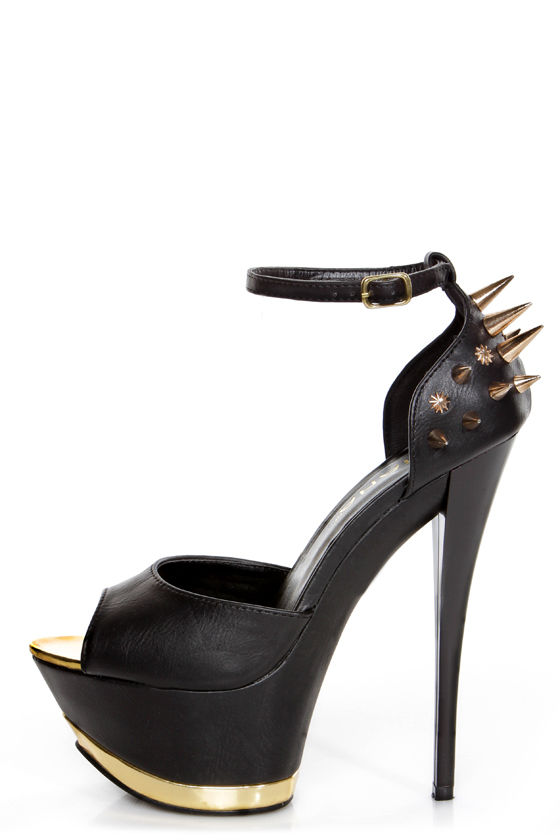 Hana 11 Black and Gold Spiked Mega Platform Heels - $58.00