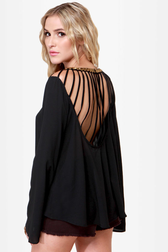 Bead-y Baby Black Backless Beaded Top at Lulus.com!
