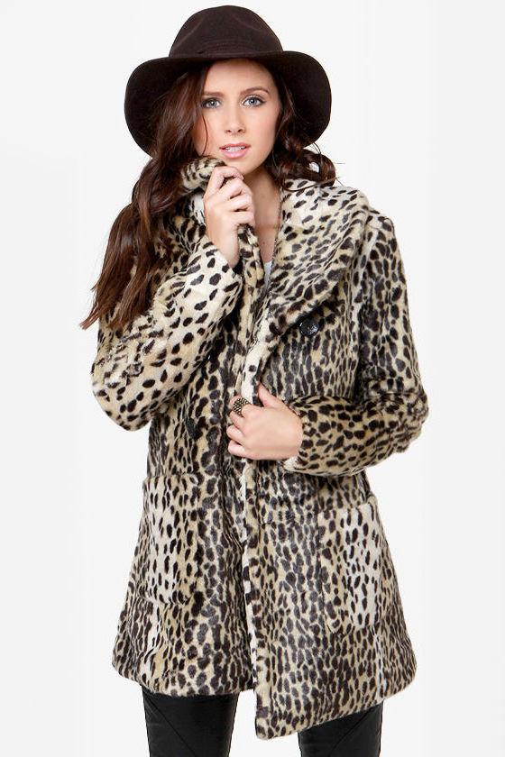 0ed4f56e5089 Cute Animal Print Coat - Faux Fur Coat - Leopard Print Coat -  110.00