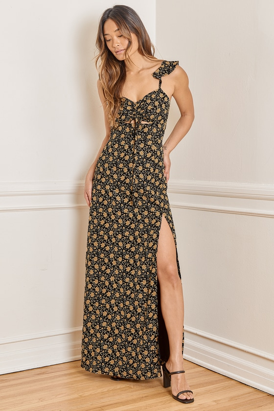 The Way to Love Black Floral Print Ruffled Maxi Dress