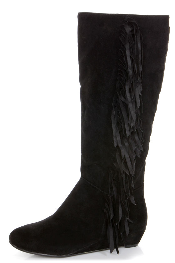 Havana 11 Black Fringe Knee High Boots at Lulus.com!