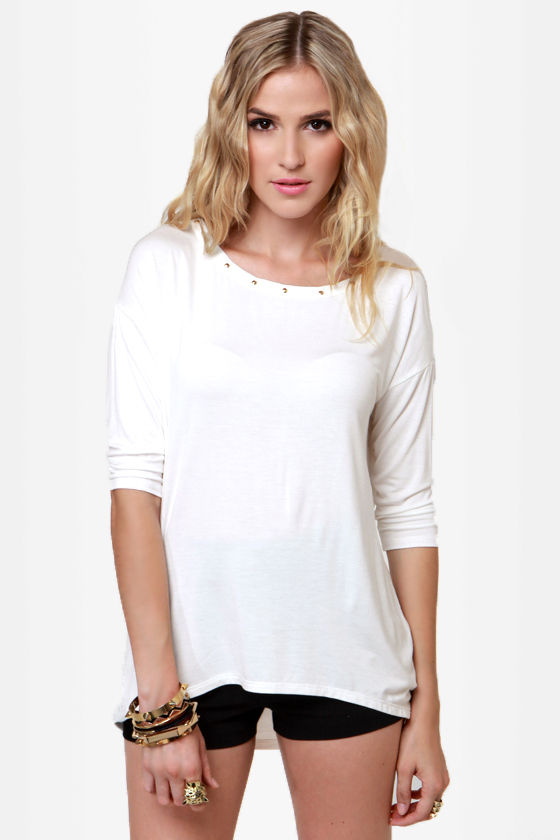 Heyday Studded Ivory Top at Lulus.com!