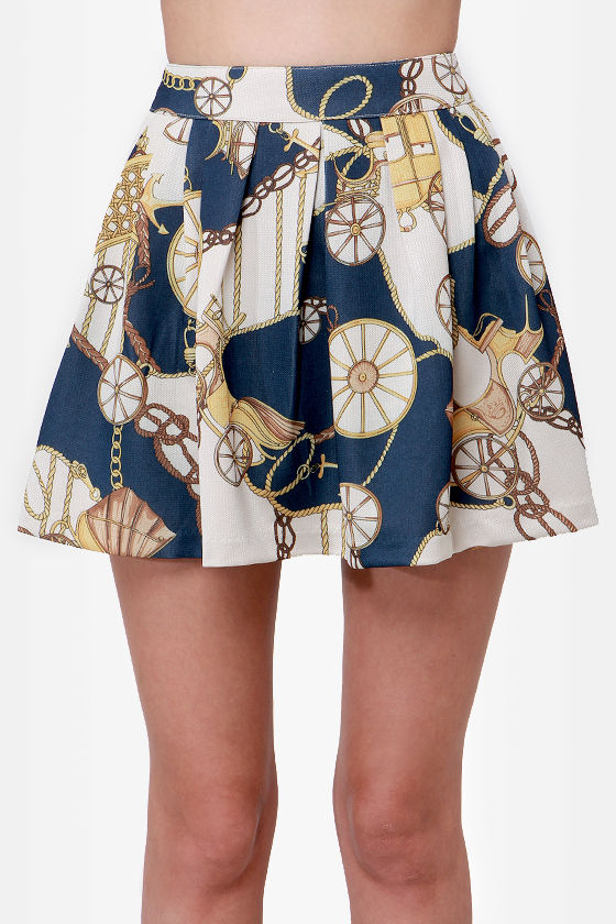 Anchors A-Sway Navy Blue Scarf Print Skirt at Lulus.com!