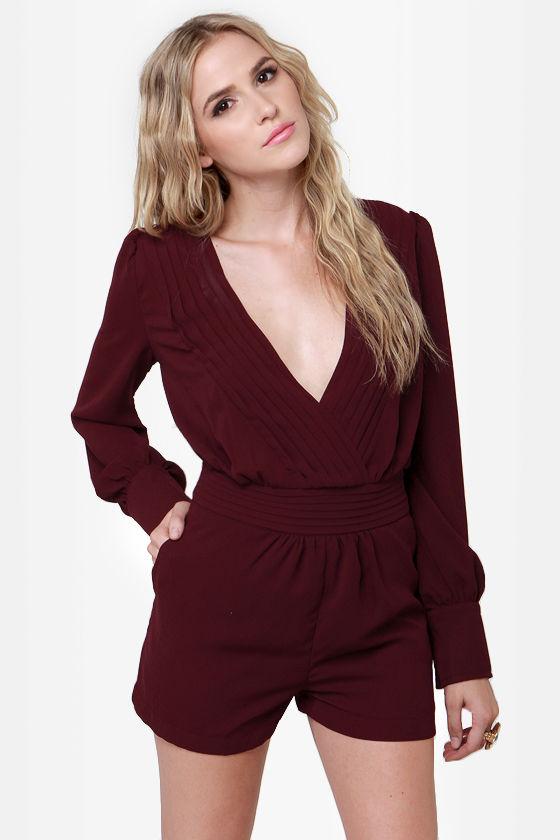 Pretty Burgundy Romper - Sexy Romper - Long Sleeve Romper ...