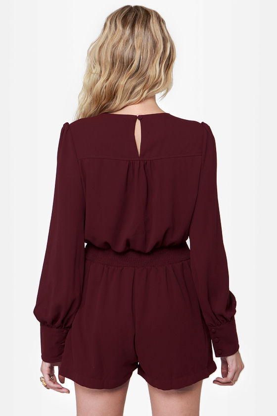 Even Better Burgundy Long Sleeve Romper at Lulus.com!