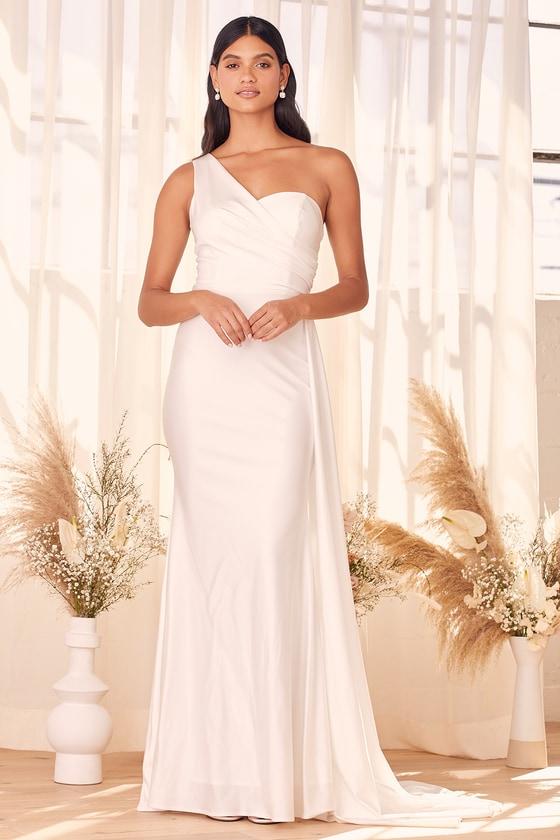 Lulus   My Always White Asymmetrical One-Shoulder Maxi Dress   Size 2   100% Polyester
