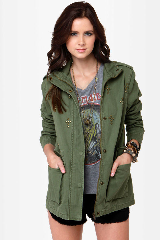 Casual Jacket - Studded Jacket - Army Green Jacket - Military ...