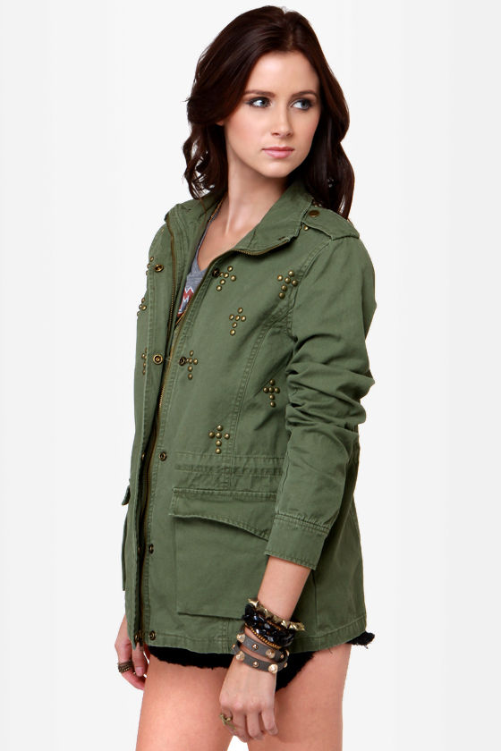 Praise the Roof Studded Army Green Military Jacket at Lulus.com!