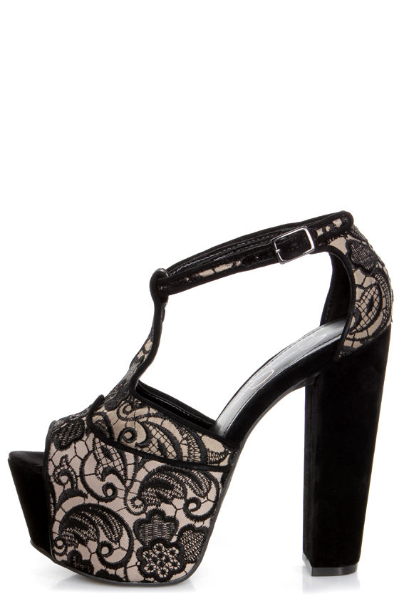 Jessica Simpson Dany 3 Black and Taupe Lace Platform Heels at Lulus.com!