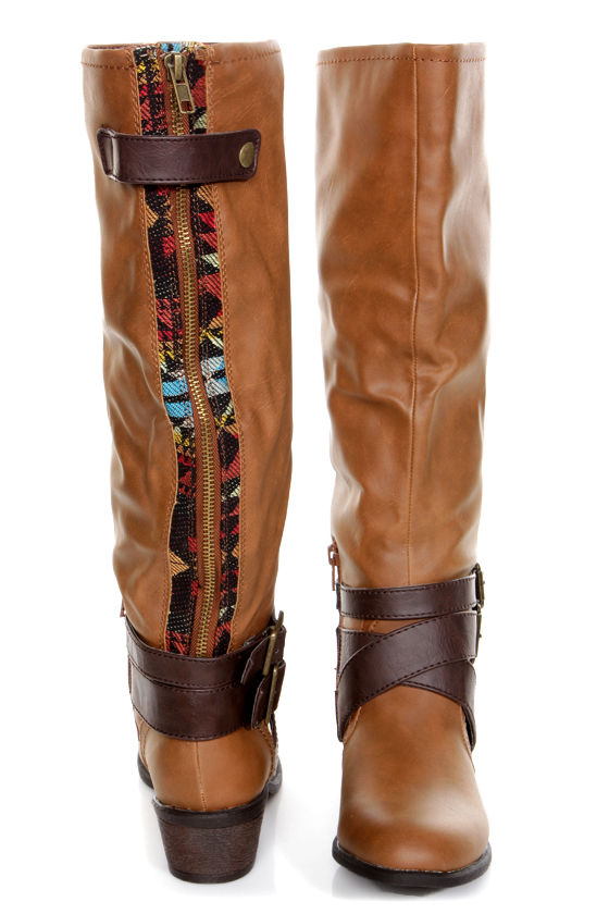 Pink & Pepper Racer Medium Brown Belted Riding Boots at Lulus.com!