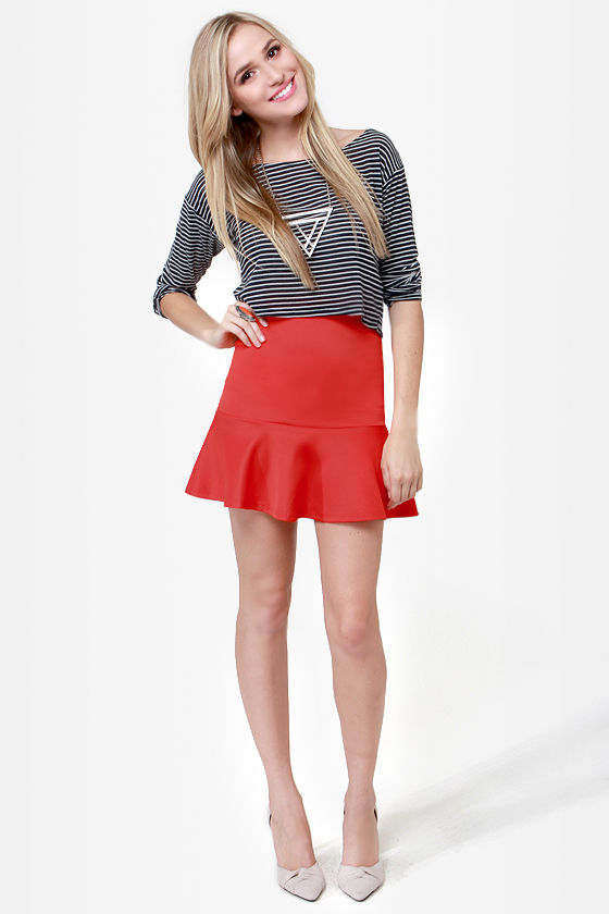 Flute-y Pie Coral Red Mini Skirt at Lulus.com!