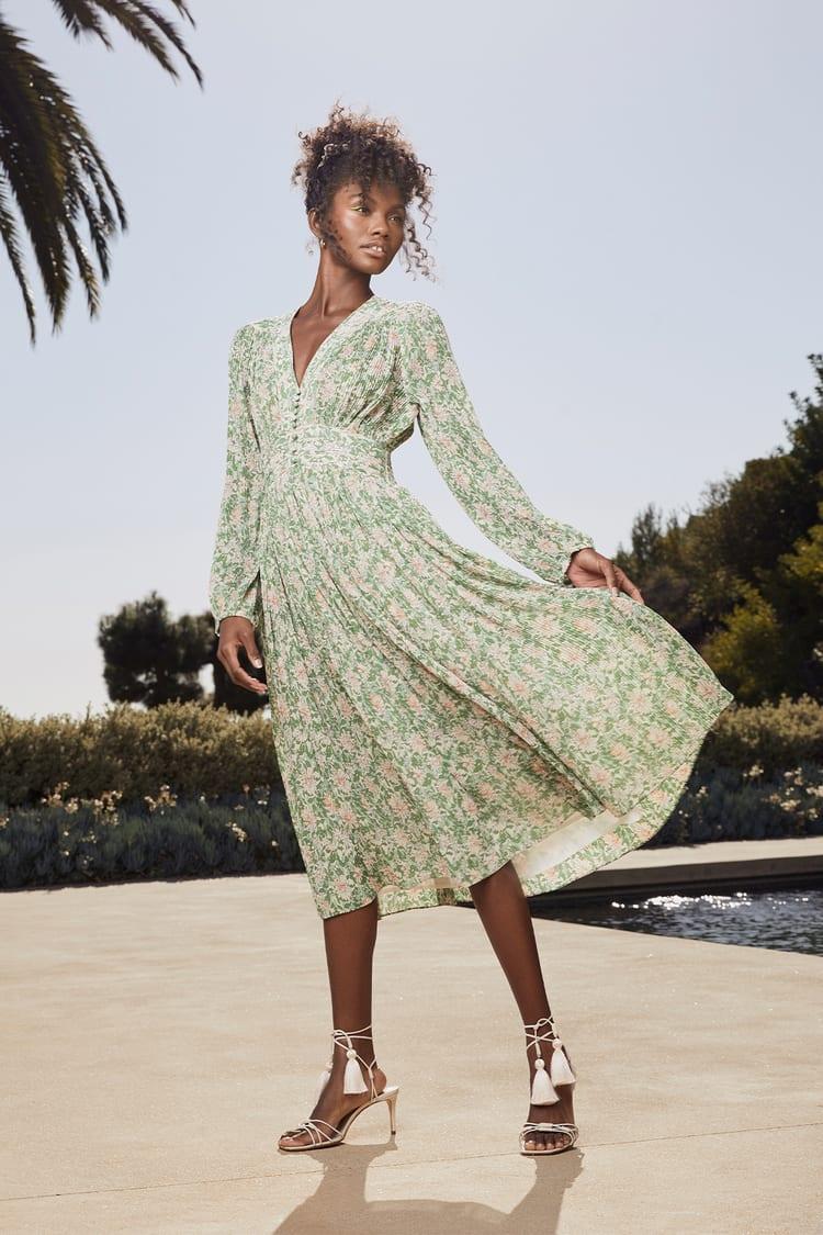 Garden Dancer Green Floral Print Pleated Long Sleeve Midi Dress