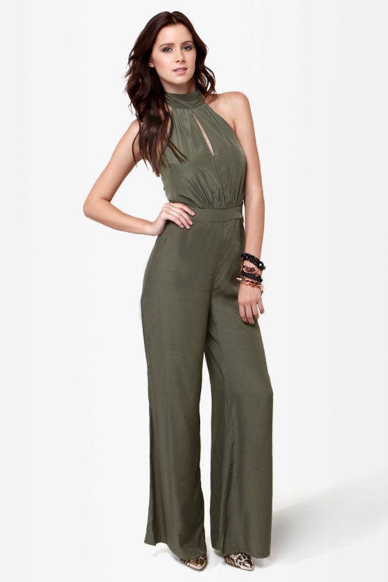 9b62e6991399 Sexy Olive Green Jumpsuit - Halter Jumpsuit -  44.00