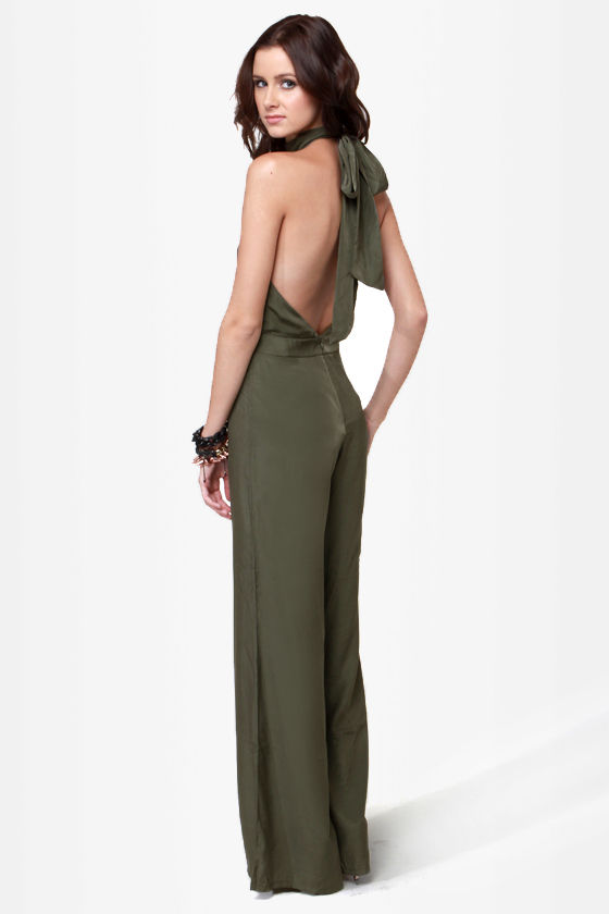8ea7114db9 Sexy Olive Green Jumpsuit - Halter Jumpsuit -  44.00