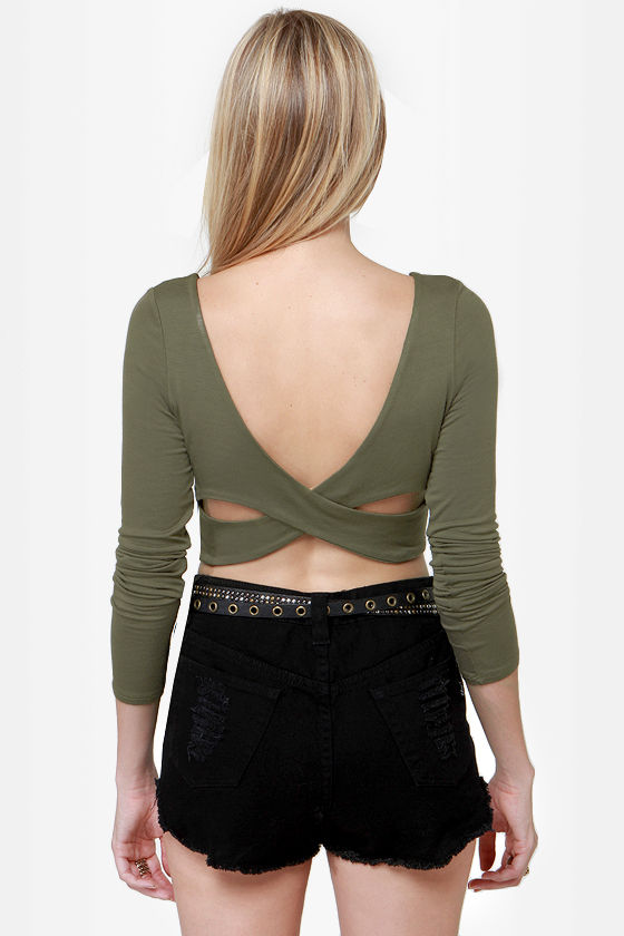The Crop-osition Olive Green Crop Top at Lulus.com!