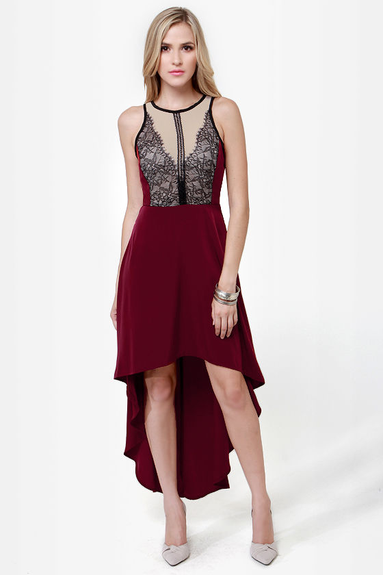 Grand Gesture Burgundy Lace Dress at Lulus.com!