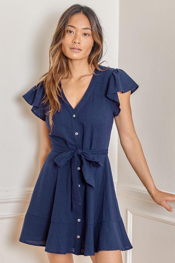Violette DressLiberty dressButton up dressBlue dress