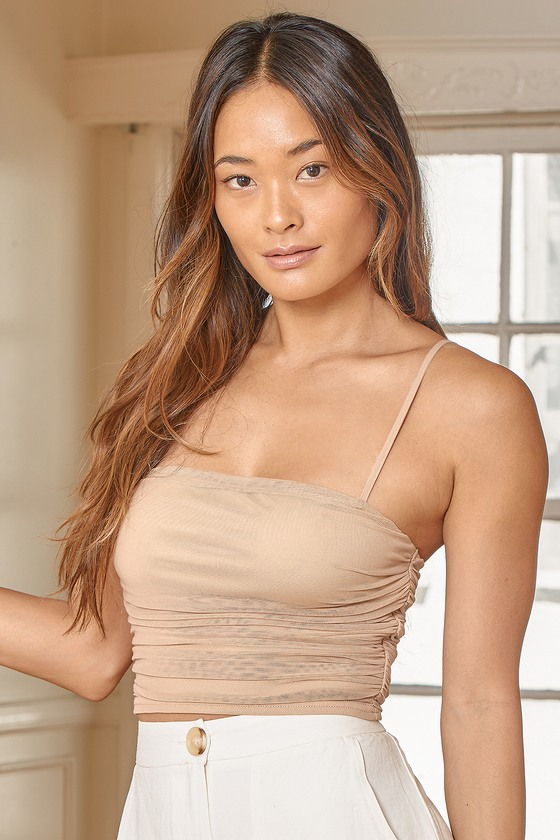 Lulus | Flirtatious Moment Beige Ruched Mesh Crop Tank Top | Size X-Large | 100% Polyester