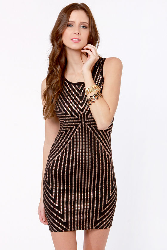 Mink Pink Vanishing Point Black and Rose Gold Dress at Lulus.com!