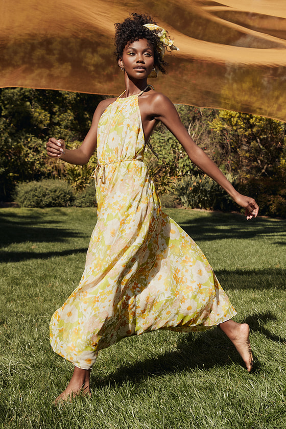 Feeling Splendid Green Multi Floral Print Halter Maxi Dress