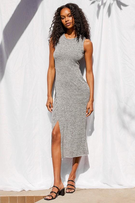 Lulus | Casually Flirty Heather Grey Cutout Bodycon Midi Dress | Size X-Large