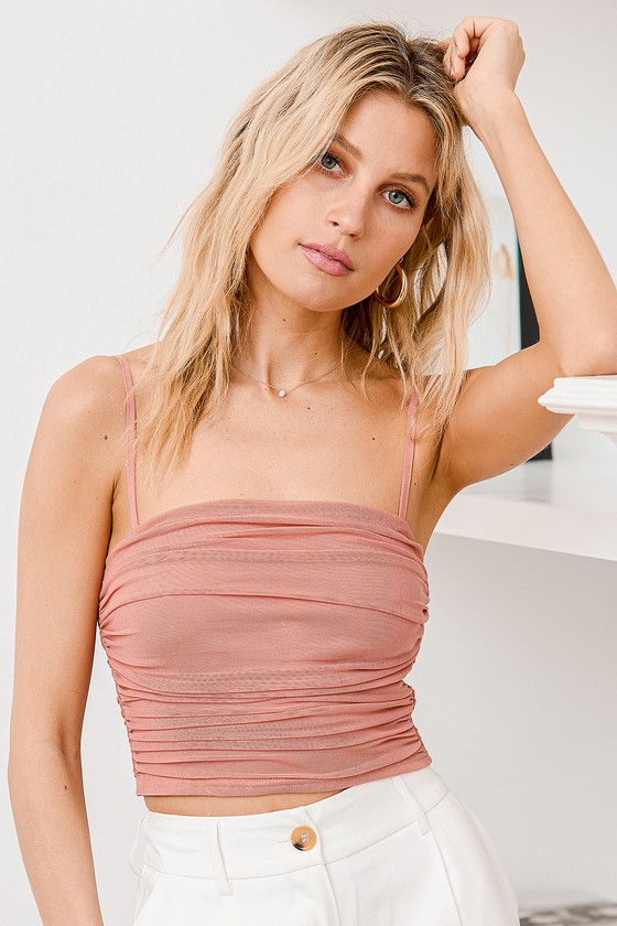 Lulus | Flirtatious Moment Rusty Rose Ruched Mesh Crop Tank Top | Size Small