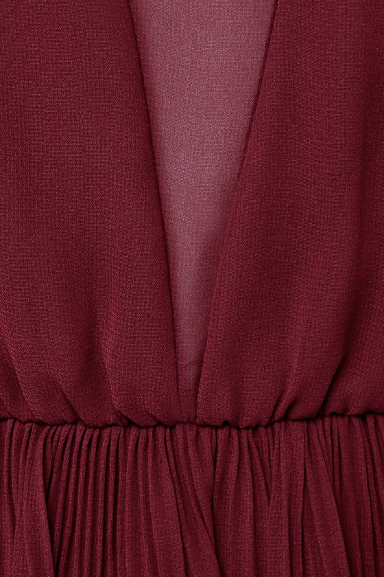 Come On Over Pleated Burgundy Dress at Lulus.com!
