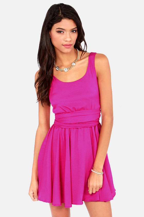 Tie Me a River Magenta Dress at Lulus.com!
