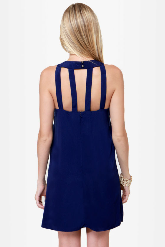Passing the Bars Navy Blue Shift Dress at Lulus.com!