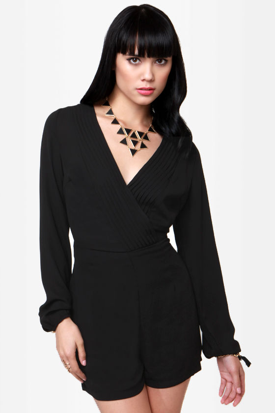 Carry a Torch Black Long Sleeve Romper at Lulus.com!