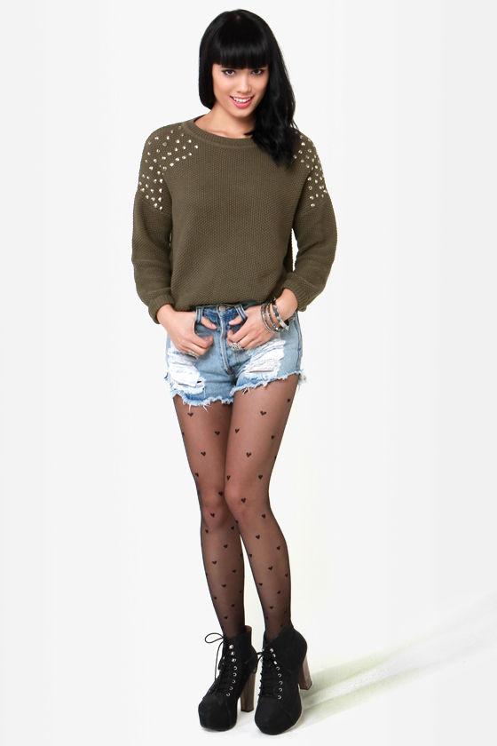 Stud Ahead Olive Green Studded Sweater at Lulus.com!