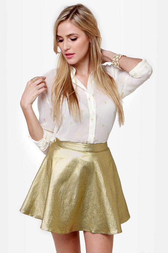 Cute Metallic Skirt - Gold Skirt - Mini Skirt - $32.00
