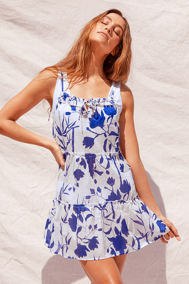 Charlie Holiday Senorita Blue Floral Print Ruffled Tie-Strap Swim Cover-Up Dress