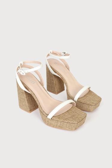 RAID Rosemary-LL White Platform Ankle Strap High Heel Sandals