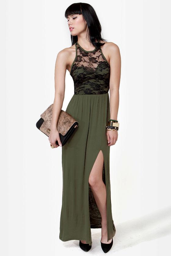 Cute Olive Green Dress - Maxi Dress - Lace Dress - $40.00