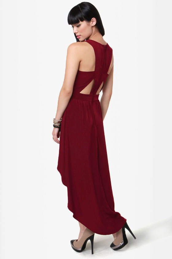 Prime Cuts Burgundy High-Low Dress at Lulus.com!
