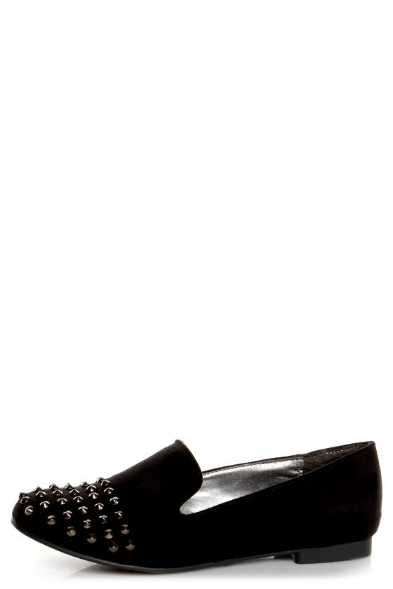 Jojo 06 Black Studded Smoking Slipper Flats at Lulus.com!