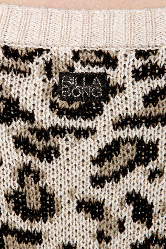 Billabong Liv for Lov Animal Print Cropped Sweater at Lulus.com!