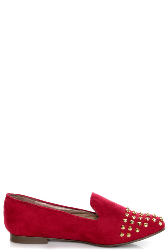 Jojo 06 Red Studded Smoking Slipper Flats at Lulus.com!