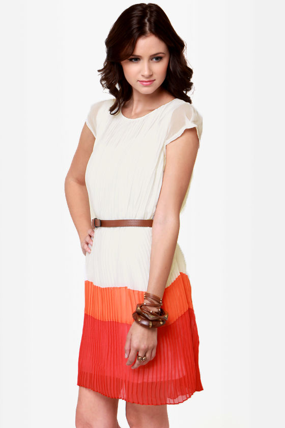 Pleat the Heat Belted Color Block Dress at Lulus.com!