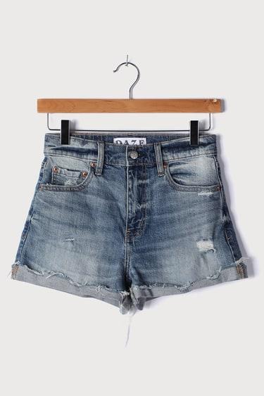 Daze Denim Troublemaker Medium Wash Distressed High-Rise Denim Shorts