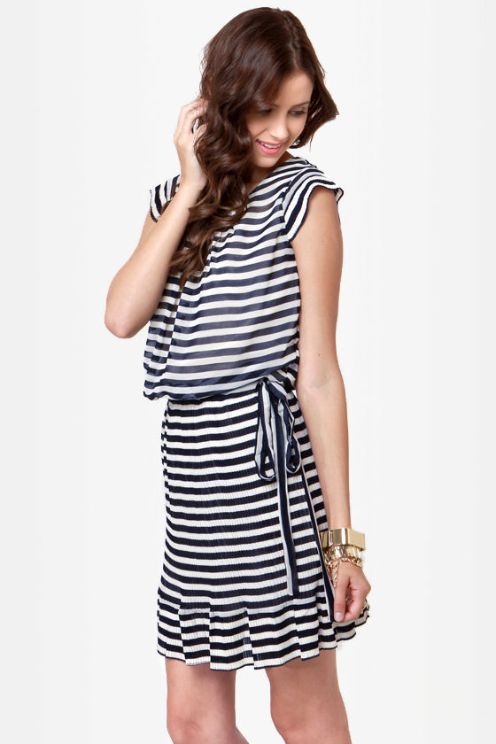 Candy Creek Navy Blue and Cream Striped Dress at Lulus.com!