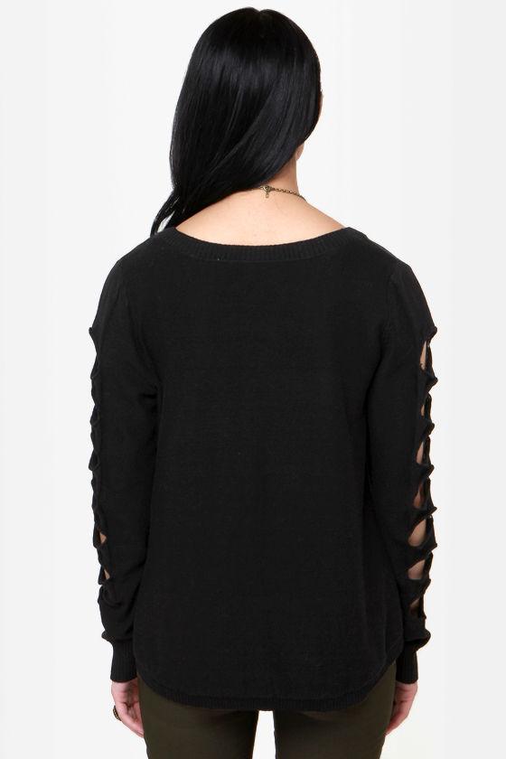 Billabong Liv for Lov Cutout Black Sweater at Lulus.com!