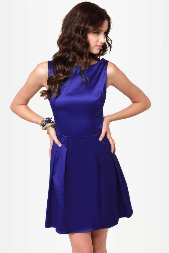 Pretty Blue Dress Satin Dress Skater Dress 37 50