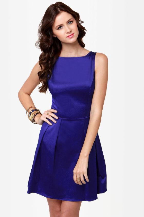 Pretty Blue Dress - Satin Dress - Skater Dress - $37.50