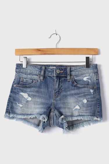 Pixie Medium Wash Distressed Low-Rise Denim Cutoff Shorts