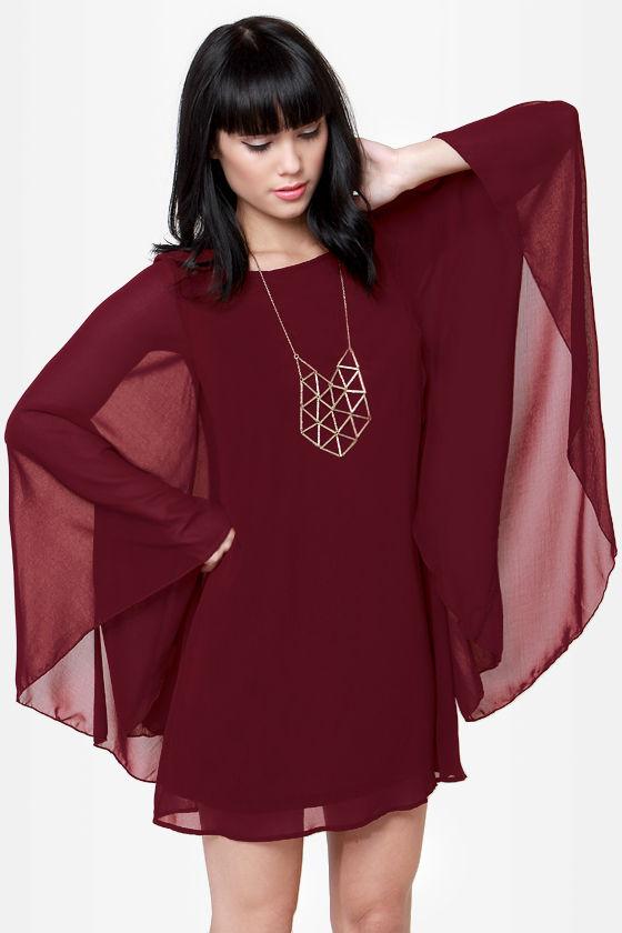 Lovley Wine Red Dress - Shift Dress - $43.00