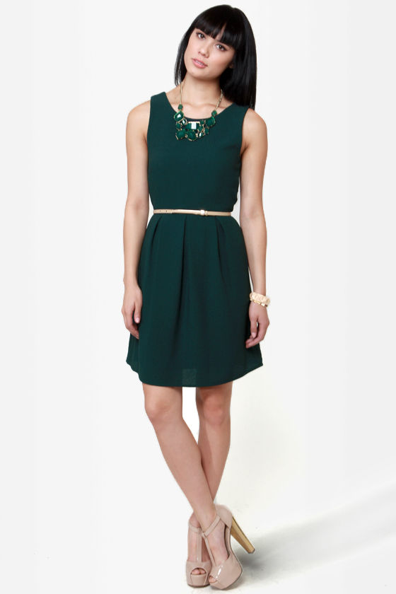 Friends for Life Dark Green Dress at Lulus.com!
