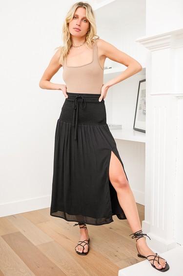 Summer Kind of Wonderful Black Smocked Midi Skirt