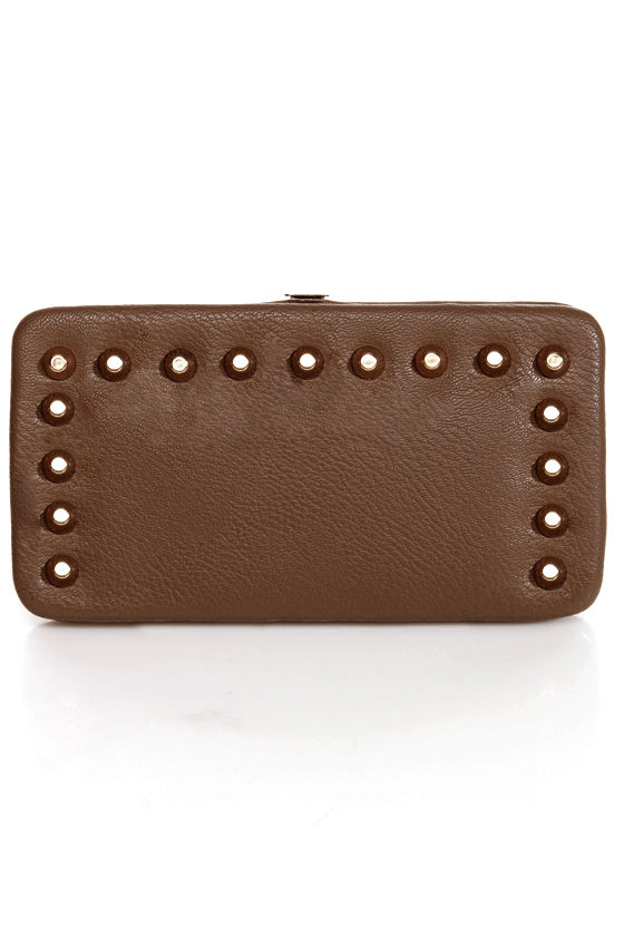 Snap-lications Studded Taupe Wallet at Lulus.com!